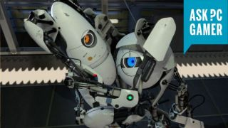 Portal 2 robots hugging with an ASK PCGAMER badge on top right.