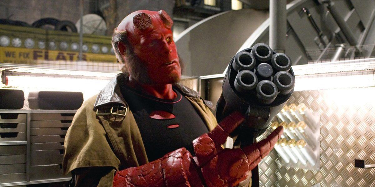 Ron Perlman's Hellboy holding gun