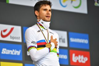 Italian Filippo Ganna celebrates the gold medal in the elite men's time trial of the UCI Road World Championships in Flanders