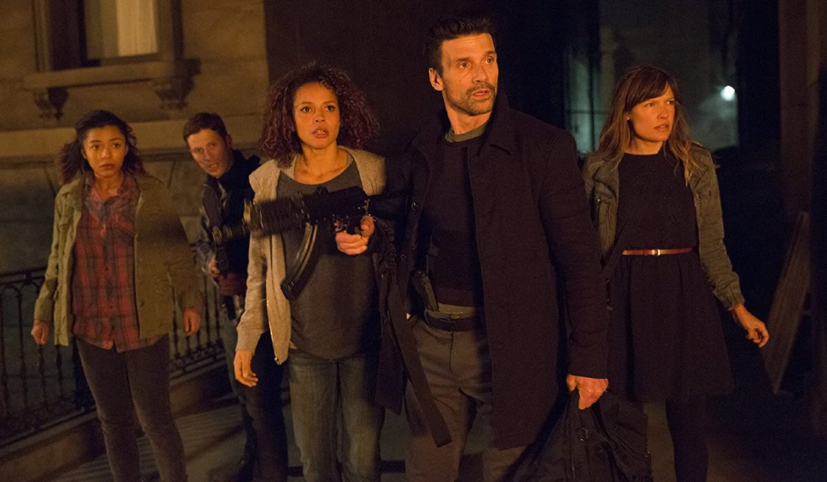 Carmen Ejogo and Frank Grillo lead a team of survivors in The Purge: Anarchy.