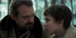 Hopper and Eleven in the woods