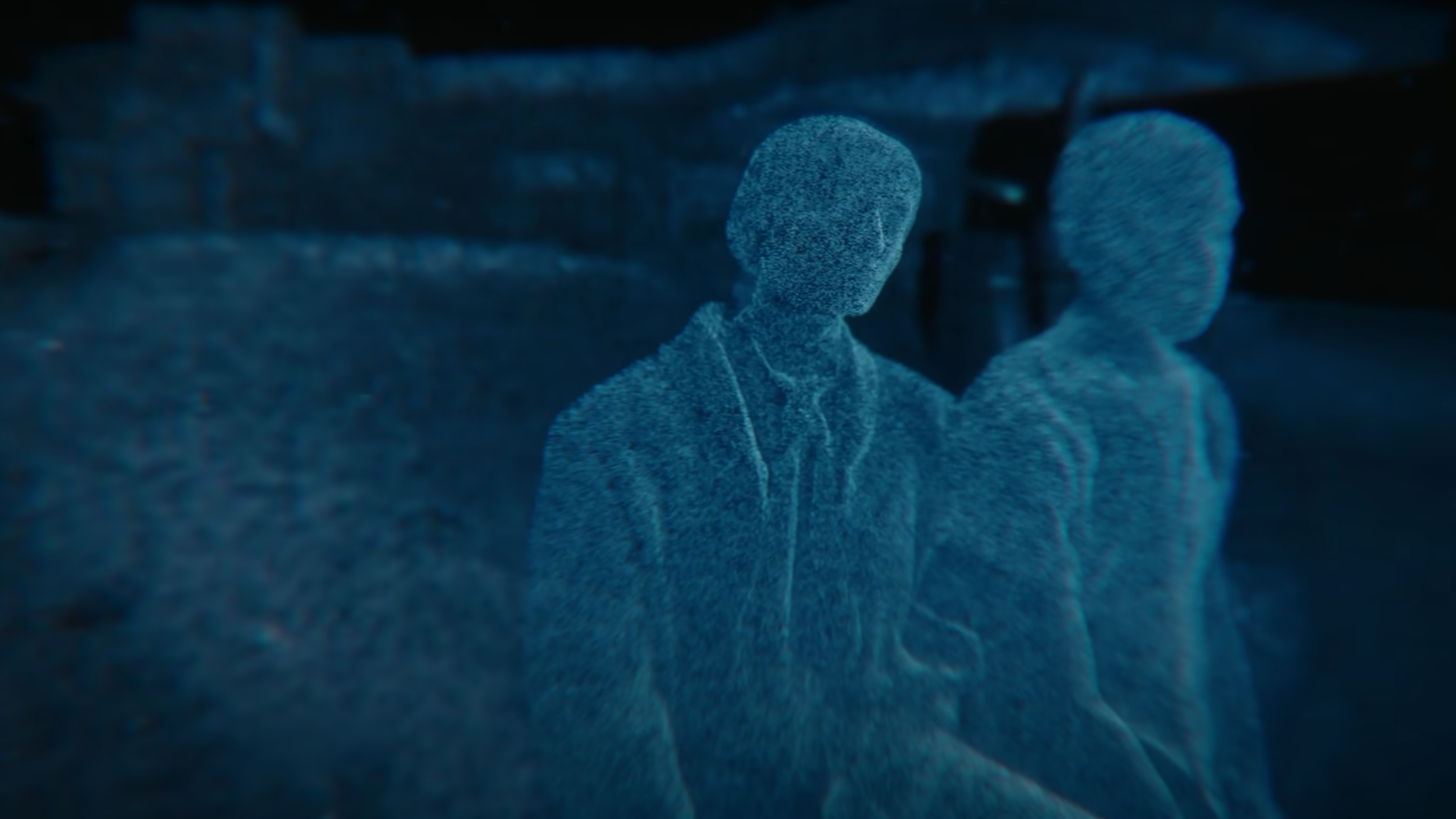 The point cloud of two people created by a LiDAR scanner