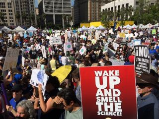 Marchers gather in Pershing Square in downtown Los Angeles for the March for Science on April 22, 2017.