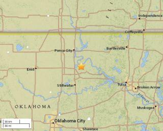 A 5.8-magnitude earthquake shook Pawnee, Oklahoma, on Sept. 3, 2016, at 12:02:44 UTC.