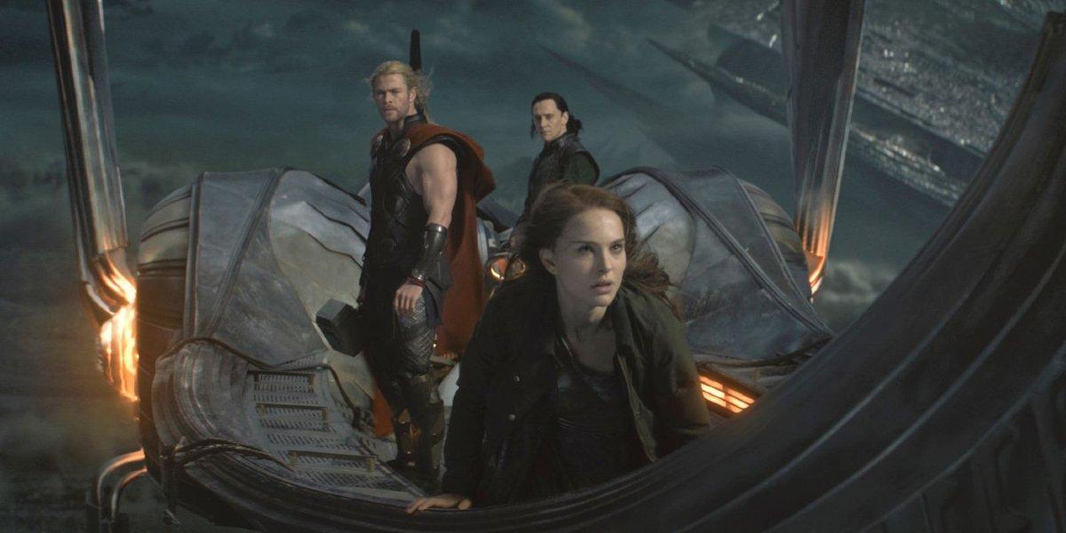 Chris Hemsworth, Natalie Portman, and Tom Hiddleston in Thor: The Dark World