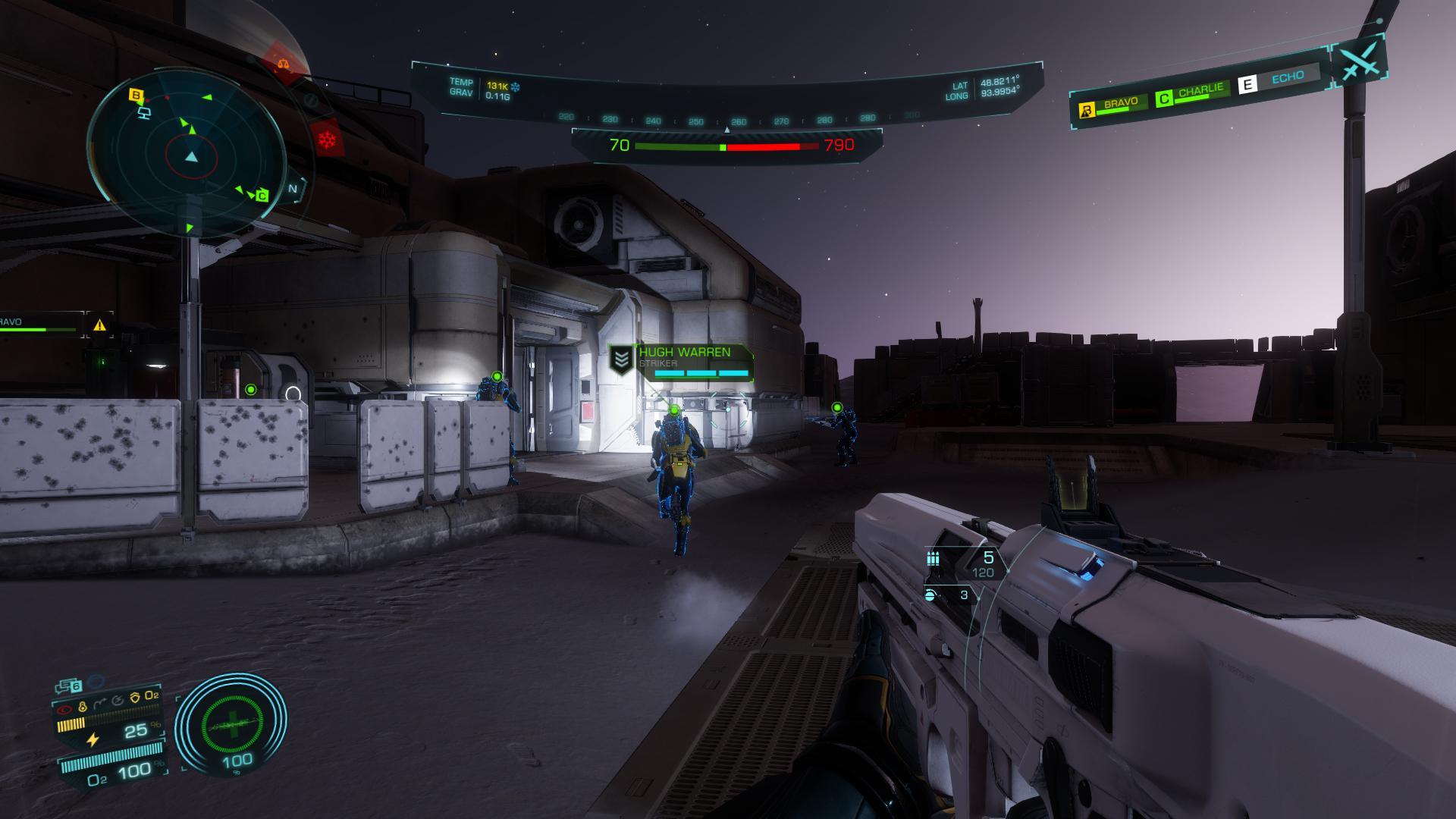 Screenshot Of An Elite Dangerous Odyssey Conflict Zone Fire Fight