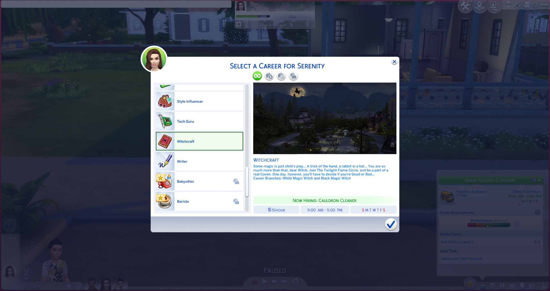 The Sims 4 career screen showing the witchcraft career.