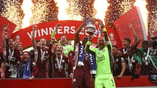 How to watch Leicester City in the Premier League - Leicester City raise the FA Cup in celebration of the win in May 2021.