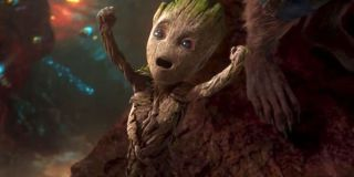 Baby Groot cheering in Guardians 2
