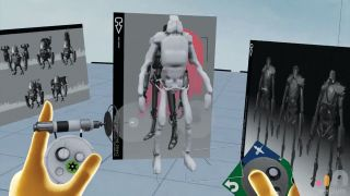 View through VR headset of hands building a 3D robot