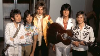 The classic line-up of rock band The Faces - Ronnie Lane, Ian McLagan, Rod Stewart, Ron Wood, Kenney Jones