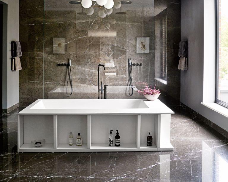Luxury bathroom ideas with stone flooring and island vanity