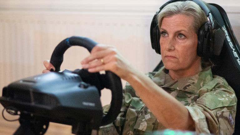 Sophie Wessex plays video games at RAF Wittering