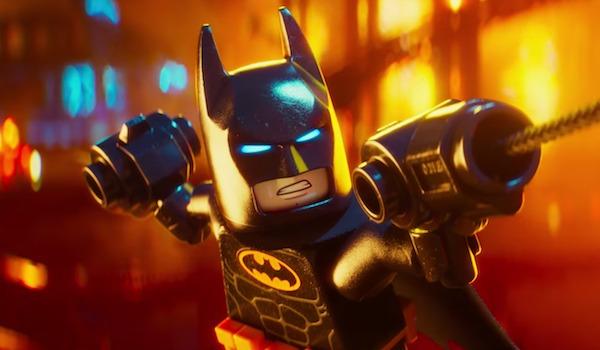 Lego Batman dangling on a wire