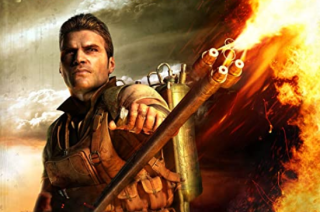 Far Cry 2's antagonist, the Jackal, flamethrower in hand.