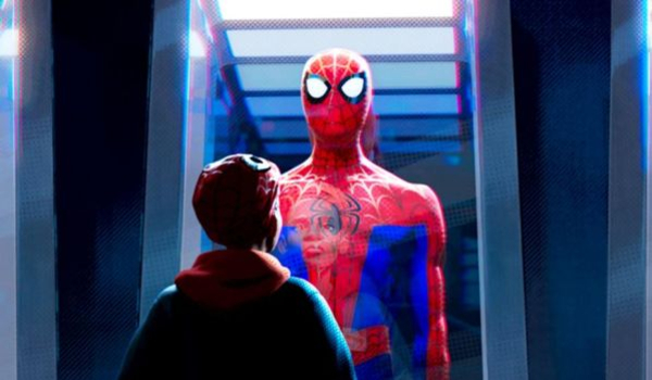 Spider-Man: Into The Spider-Verse Miles gazing at the original Spider Suit in a case