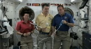 Flight engineers Cady Coleman, Paolo Nespoli and Ron Garan recorded a special congratulatory message for Prince William and Kate Middleton from onboard the International Space Station.
