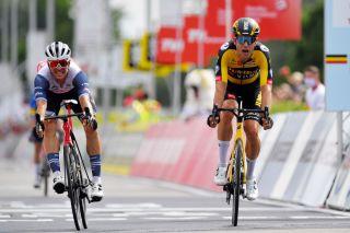 Jumbo-Visma rider outsprints Edward Theuns for victory