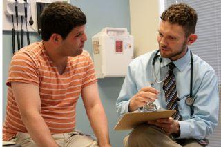 Dr. Christopher Hanks and autistic patient Braden Gertz