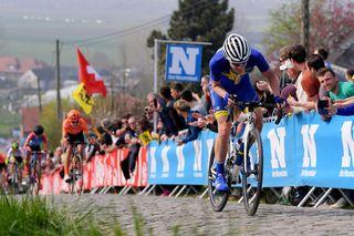 Swedish road race champion Emilia Fahlin (FDJ-Nouvelle Aquitaine-Futuroscope on the attack at the 2019 Tour of Flanders