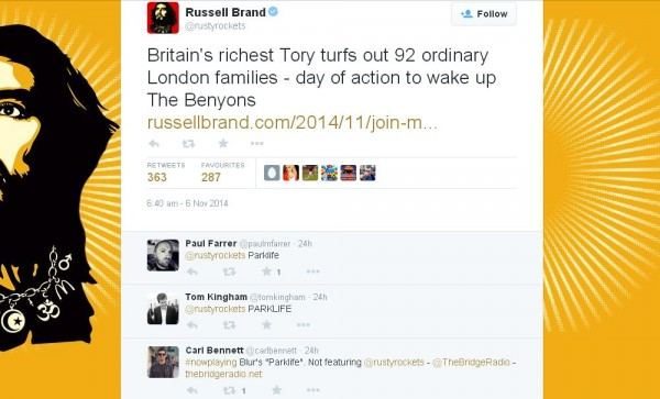 Russell Brand's Twitter followers join the #Parklife revolution