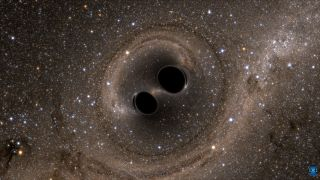 An artist's depiction of two black holes colliding