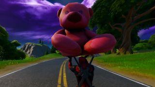 fortnite giant pink teddy bear challenge location