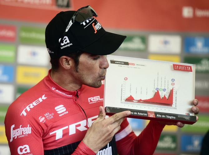 Alberto Contador on the podium after winning stage 20 at the Vuelta