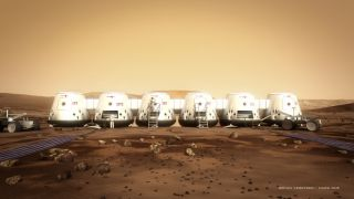 Artist's concept of Mars One astronauts and their habitat on the Red Planet. Mars One aims to land four people on the Red Planet in 2025.