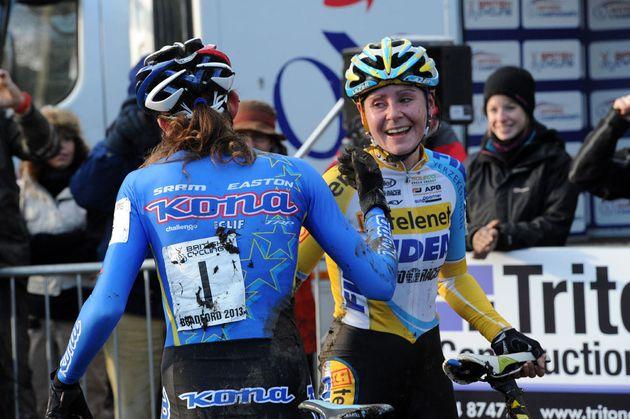 Helen Wyman and Nikki Harris, British cyclo-cross National Championships 2013
