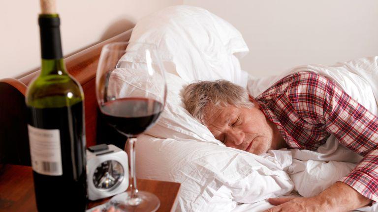 Man asleep after drinking alcohol