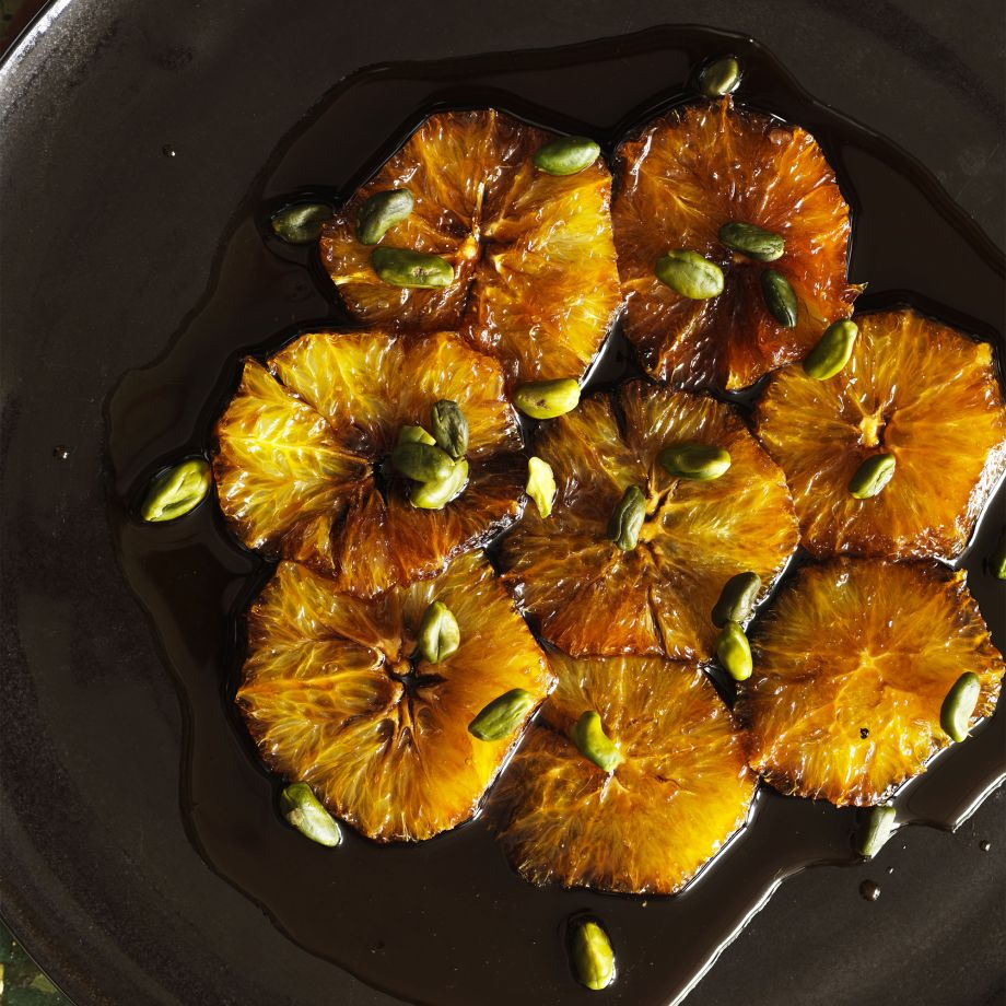 Oranges Poached in Caramel with Pistachios, Mint and Yoghurt Recipe