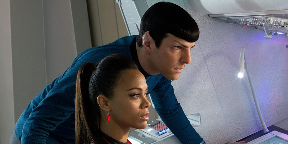 Zachary Quinto and Zoe Saldana in Star Trek Into Darkness