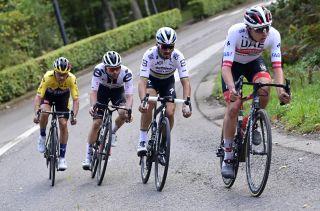 UAE Team Emirates' Tadej Pogacar leads the way at the 2020 Liège-Bastogne-Liège, where the Slovenian would finish third