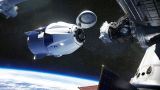Crew-1's Dragon capsule docks with the International Space Station.