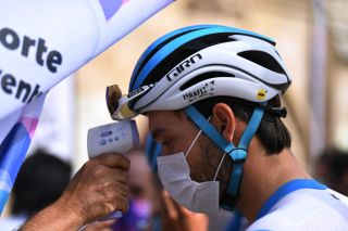 Israel Start-Up Nation's Rick Zabel undergoes a temperature check ahead of the opening stage of the 2020 Vuelta a Burgos