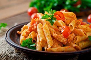 Pasta with tomato sauce.