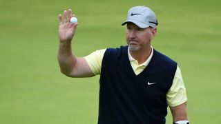 David Duval acknowledges the crowd after finishing on the 18th green during the second round of the 148th Open Championship held on the Dunluce Links at Royal Portrush Golf Club on July 19, 2019 in Portrush, United Kingdom.