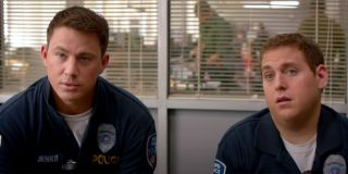 21 Jump Street Channing Tatum and Jonah Hill confused in police station