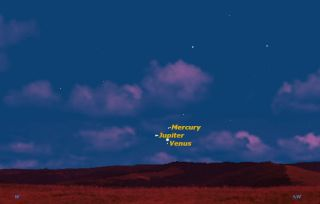 Venus, Jupiter, and Mercury on May 26, 2013, Sky Map
