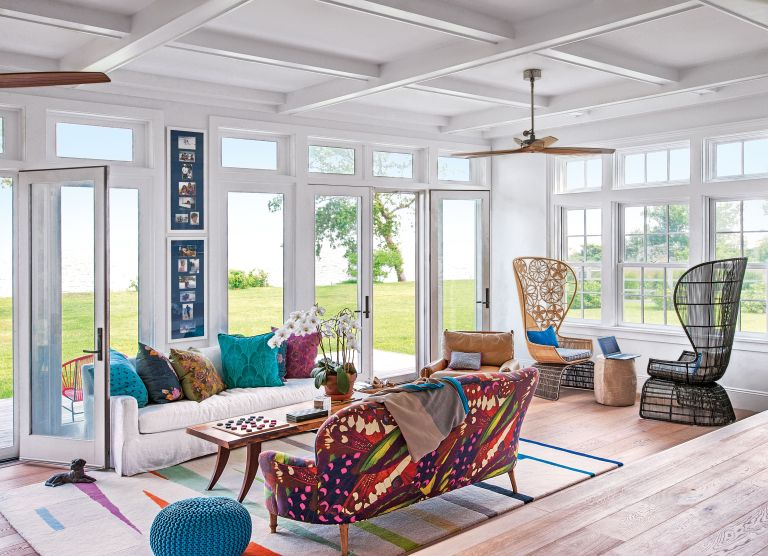 Summer house with colorful furniture