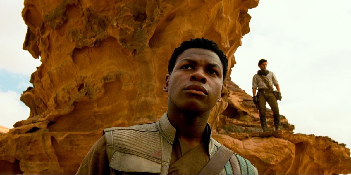 Finn surveying his surroundings in Star Wars: The Rise of Skywalker