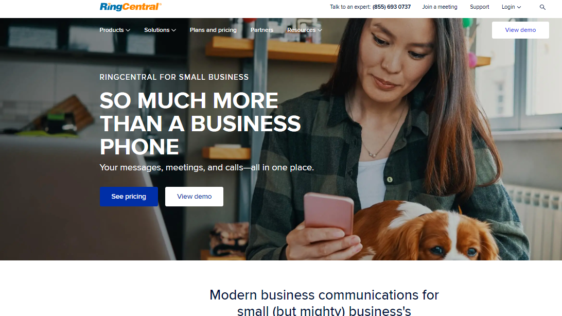 RingCentral's product landing page with text which reads: so much more than a business phone.