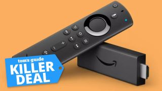 """Fire TV Stick 4K against an orange background. Text reads """"Tom's Guide Killer Deal"""" on a blue label"""