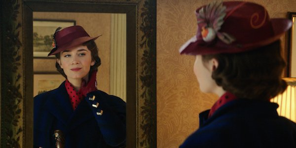 Mary Poppins looking in the mirror