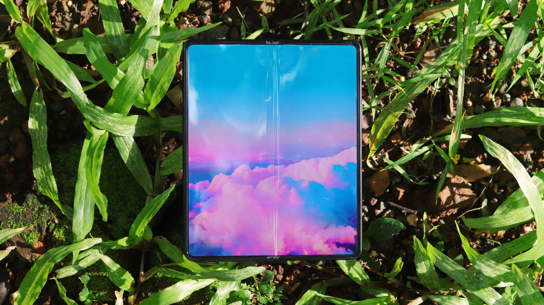 A Samsung Galaxy Z Fold 3 sat on the grass