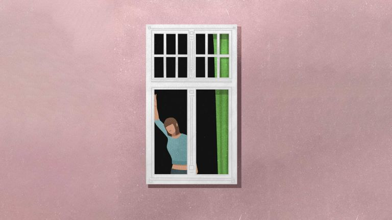 An illustration a woman standing alone at the window of a pink building