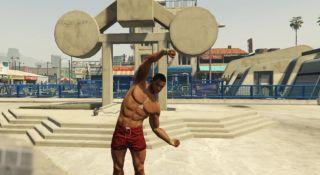 A buff man flexing in GTA Online