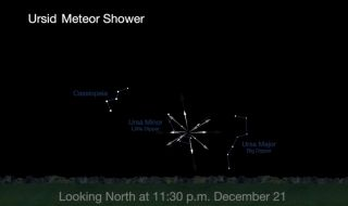This NASA graphic shows where the Ursid meteor shower will appear to radiate out from a part of the northern night sky during the 2016 Ursids peak on Dec. 21 and 22.