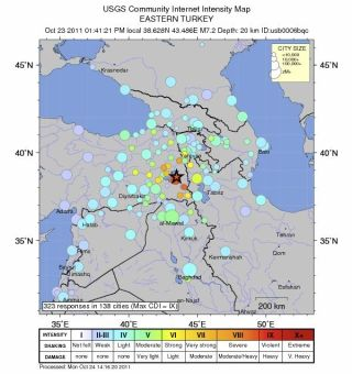 Earthquake intensity map Turkey